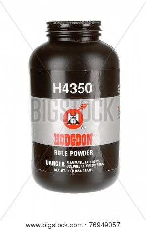 Hayward, CA - November 23, 2014: Plastic container of Hodgdon H4350 gunpowder