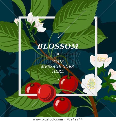 Floral background with cherry berries and cherry blossom branch
