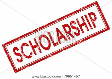 Scholarship Red Square Stamp Isolated On White Background