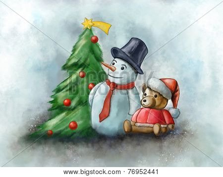 Snowman and toy bear in a Christmas composition. Digital watercolor.