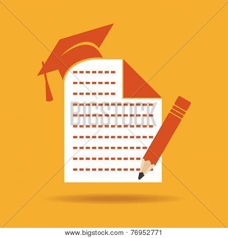 Education icon with graduation cap ,note and pencil stock vector