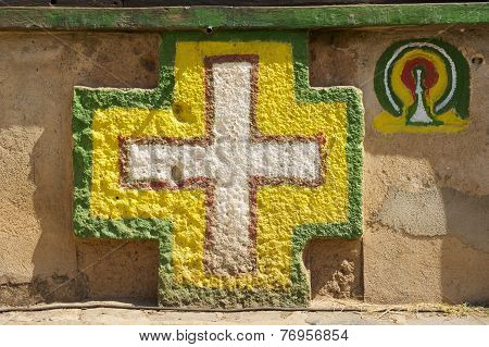 Wall decoration of the Church of Our Lady Mary of Zion, Aksum, Ethiopia.