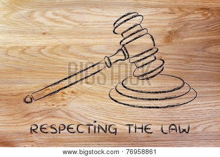 Law And Courts: Judges Gavel Illustration
