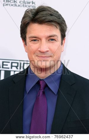 LOS ANGELES - NOV 23:  Nathan Fillion at the 2014 American Music Awards - Arrivals at the Nokia Theater on November 23, 2014 in Los Angeles, CA