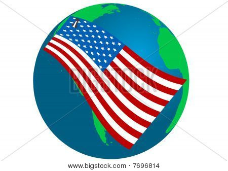 Illustration of a Globe with USA flag