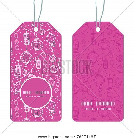 Vector holiday lanterns line art vertical round frame pattern tags set