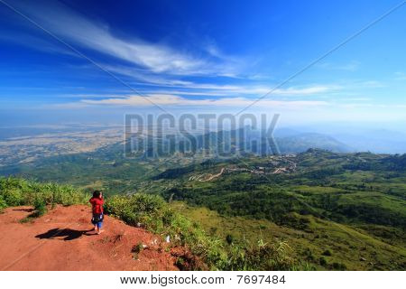 Standing On Top Of Mountain