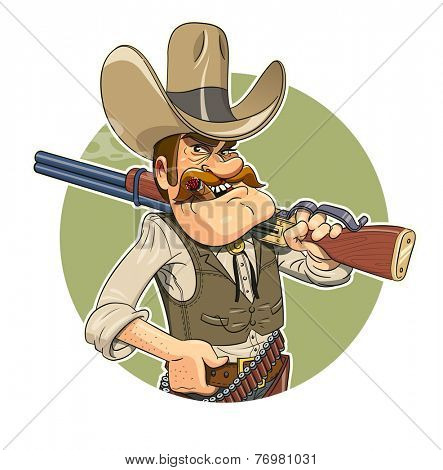 Cowboy with gun. Vector illustration. Isolated on white background