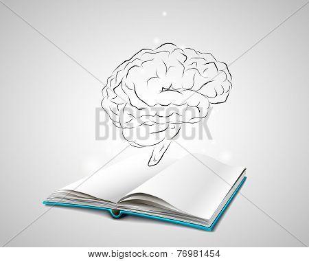 human brain sketch over an open book