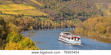 Cruise vessel on river moselle