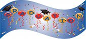 Graduation banner flies proudly, celebrating the new day, starting for all its Graduates...  With Ballons, streamers, confetti and more... poster