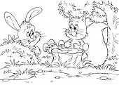 Black-and-white illustration (coloring page): Hare talks to Squirrel in a forest poster