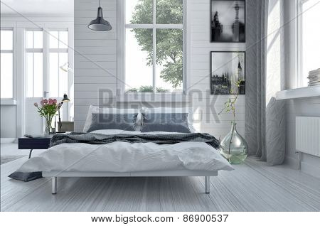 Double divan bed in a light spacious upmarket modern bedroom with large windows and artwork on the walls in grey and white decor. 3d Rendering