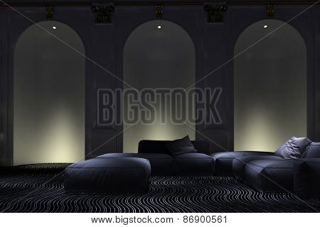 Graceful illuminated arched wall alcove accents in a luxury living room interior with comfortable modern modular lounge suite. 3d Rendering poster