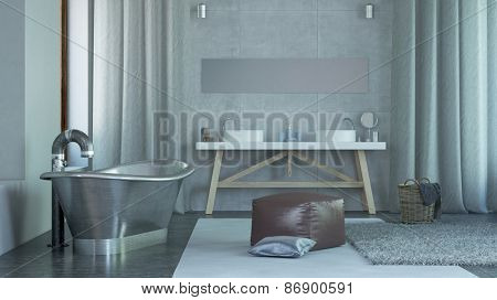 Modern Architectural Spacious Home Bathroom Interior Design with Steel Bathtub. 3d Rendering