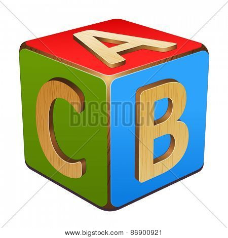 wooden cube with letters A,B,C
