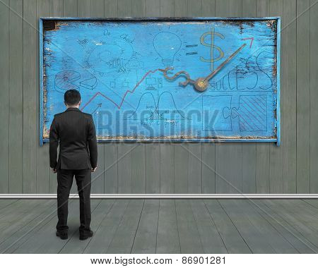 Businessman Looking At Business Concept Doodles On Old Blue Noticeboard