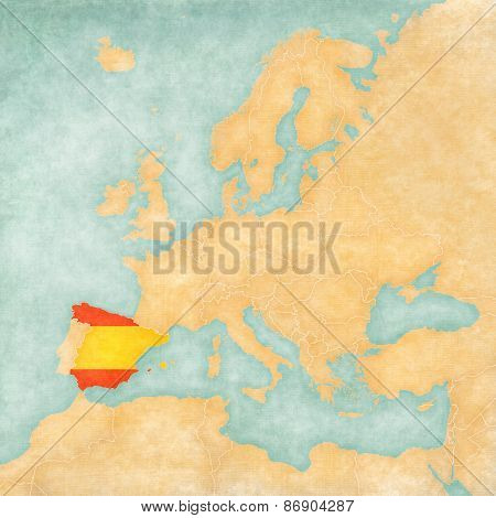 Spain (Spanish flag) on the map of Europe. The Map is in vintage summer style and sunny mood. The map has soft grunge and vintage atmosphere which acts as watercolor painting on old paper.