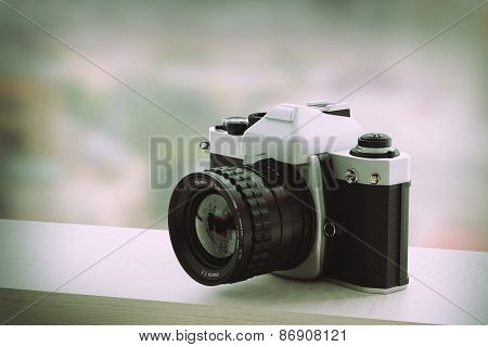 3d rendering of a reflex analog camera poster