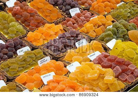 Sour sweets at a market