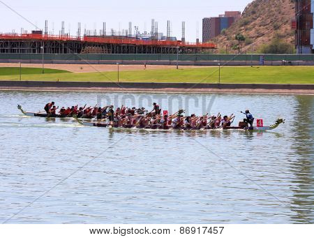 Teams Race To The Finish at The Dragon Boat Festival