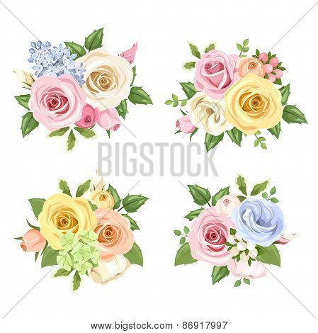 Set of bouquets of colorful roses and lisianthus flowers. Vector illustration.