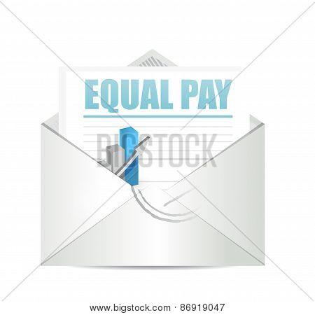 Equal Pay Mail Sign Illustration Design