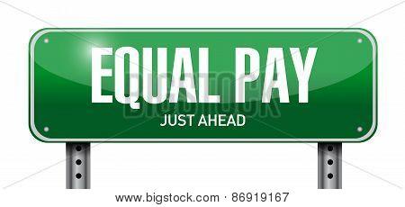 Equal Pay Road Sign Illustration Design