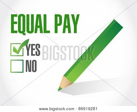 Equal Pay Check Mark Sign Illustration