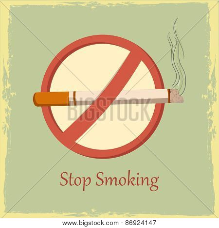 Poster, banner or flyer with anti smoking symbol for No Smoking Day on vintage background.