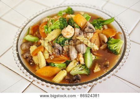 Ready to serve stir fried cap cai or mixed vegetable, chinese cuisine in Indonesia