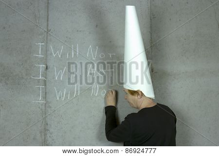 I Will Not, Woman Wearing Dunce Cap