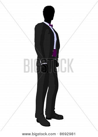 African American Wedding Groom In A Tuxedo Silhouette