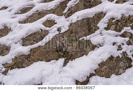 Rocks Covered With Snow Outdoor