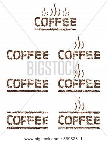 Set Collection Roasted Coffee Written, letters with Coffee Beans isolated on white background