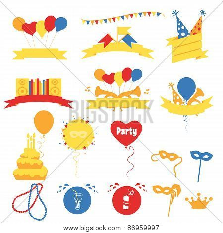 Birthday Party Celebration Decorated Banners, Flat Vector Illustration