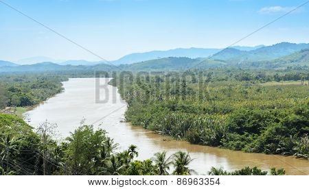 Kra Isthmus,  Kra Buri River Forming A Natural Boundary Between Thailand And Myanmar.