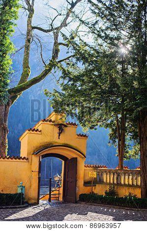 HOHENSCHWANGAU, GERMANY - 14 JANUARY 2014: Hohenschwangau castle entrance