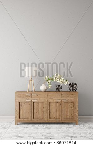 Dresser with lamp and plant standing on a wall in a corridor (3D Rendering)