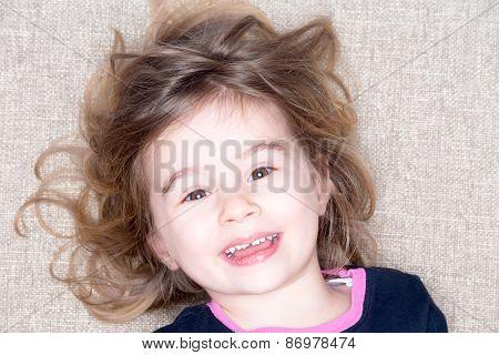 Pretty Vivacious Three Year Old Little Girl