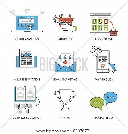 Flat design modern vector illustration concept for online shopping, mobile marketing, e-commerce, so