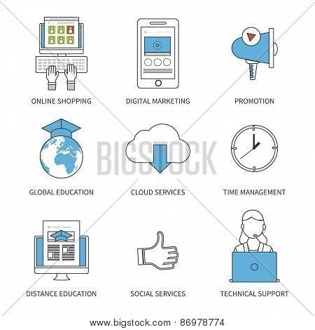 Flat design modern vector illustration concept for online shopping, digital marketing, promotion, gl