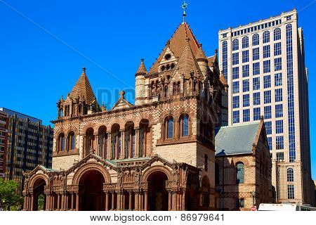 Boston Trinity Church at Copley Square in Massachusetts USA