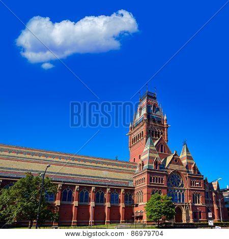 Harvard University historic building in Cambridge at Massachusetts USA