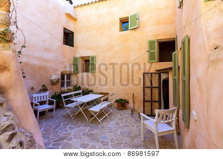 Majorca Balearic house patio in Balearic islands Mediterranean architecture of Mallorca
