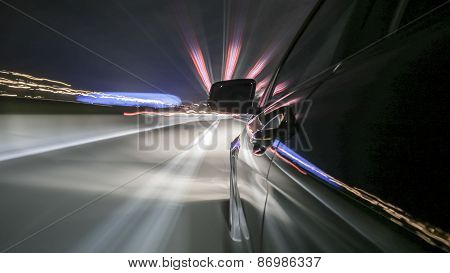 on board a black driving car