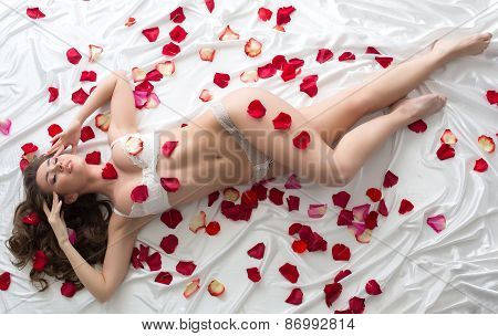 Tempting model in erotic lingerie with rose petals