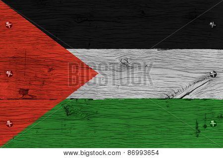 Palestine Flag Painted Old Oak Wood Fastened
