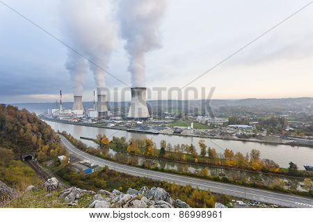 Nuclear Power Station In The Evening