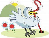 Vector cartoon of blue bird catching worm in garden. poster
